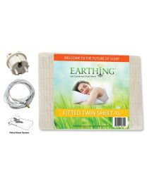 Earthing® fitted Bed Sheet with UK connection – SIZE: UK XL Single bed (or EU Single). Dimensions: 39 x 80 inches (99 x 203 cm) (aka USA twin XL sheet shown on packaging)