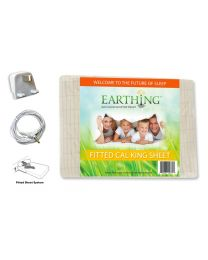 Earthing® fitted Bed Sheet with UK connection – SIZE: UK Super King Size XL. Dimensions: 72 x 84 inches (182 x 213 cm) (aka USA California King shown on packaging)