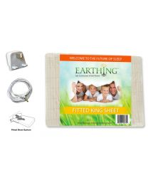 Earthing® fitted Bed Sheet with UK connection – SIZE: UK Super King Size  bed. Dimensions: 76 x 80 inches (198 x 203 cm) (aka USA king sheet shown on packaging)
