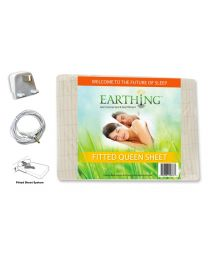 Earthing® fitted Bed Sheet with UK connection – SIZE: UK King Size bed. Dimensions: 60 x 80 inches (153 x 203 cm) (aka USA queen sheet shown on packaging)