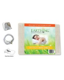 Earthing® fitted Bed Sheet with UK connection – SIZE: UK Single bed. Dimensions: 39 x 75 inches (99 x 190 cm) (aka USA twin sheet shown on packaging)