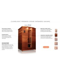 Clearlight IS-2 (Two Person Cedar Far Infrared Sauna - Low EMF)