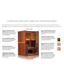 Clearlight Sanctuary 2 (Full Spectrum Two Person Cedar Infrared Sauna - Low EMF)