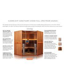 Clearlight Sanctuary C (Four Person Full Spectrum Cedar Corner infrared Sauna - Low EMF)