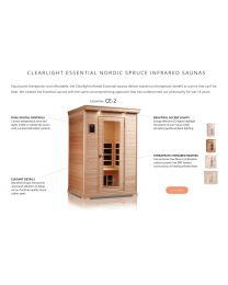 Essential Clearlight CE-2 (Two Person Nordic Spruce Far Infrared Sauna - Low EMF)